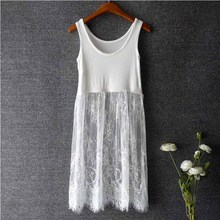 Summer Sweet White Seller Factory Stylish Lady Women Fashion Lace Evening Korean Mini Pure Color Cotton Sleeveless Dress