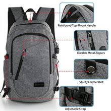 Water-resistent College School Backpack, Business Laptop Backpack, USB Charging Port Slim Anti Theft Computer Bag