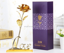 Luxury 24K Foil Yellow Gold Plated open love Rose flower