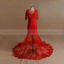 Short Sleeve Mermaid See Through Suzhou Wedding Dress Red