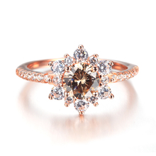 925 sun silver glass plated rose gold ring