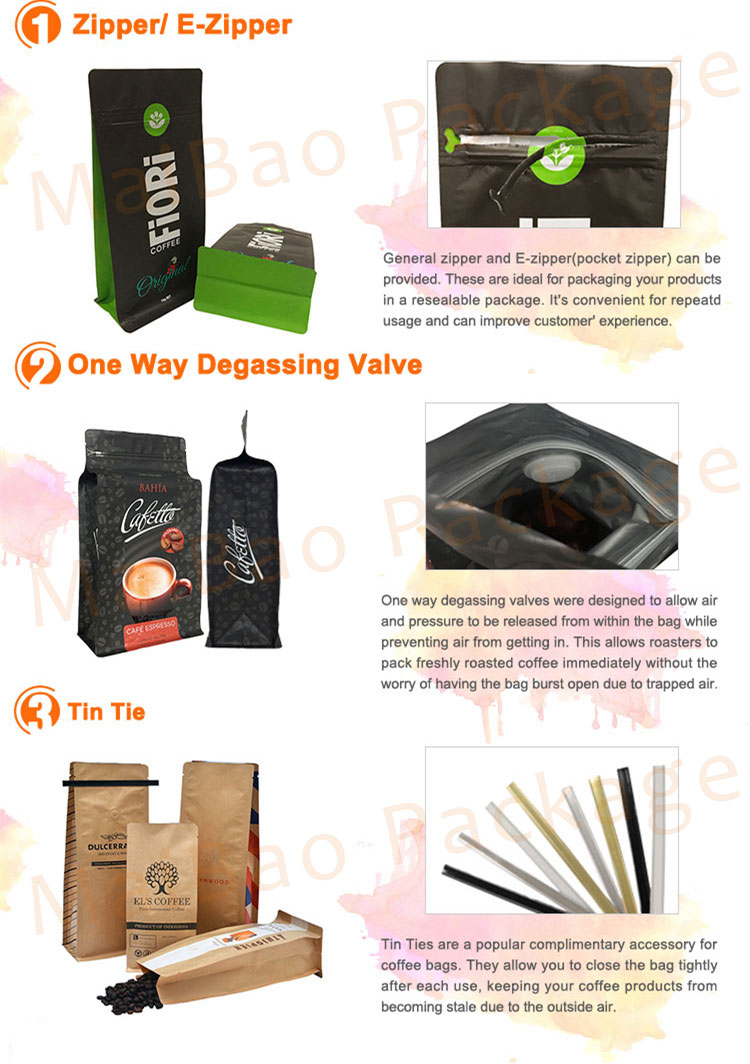 Custom Printed Aluminum Foil Coffee Bean Packing Pouch / Side Gusset Coffee Packaging Bag with Valve