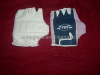 half leather glove cotton back fingerless gloves