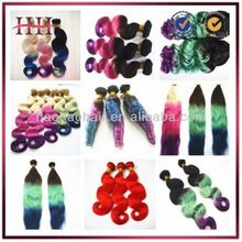 New design human hair wavy machine made double weft rainbow couleur de cheveux extension