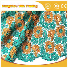 2016 Green guipure cord lace / Orange rose flower embroidery fabric for prom dresses
