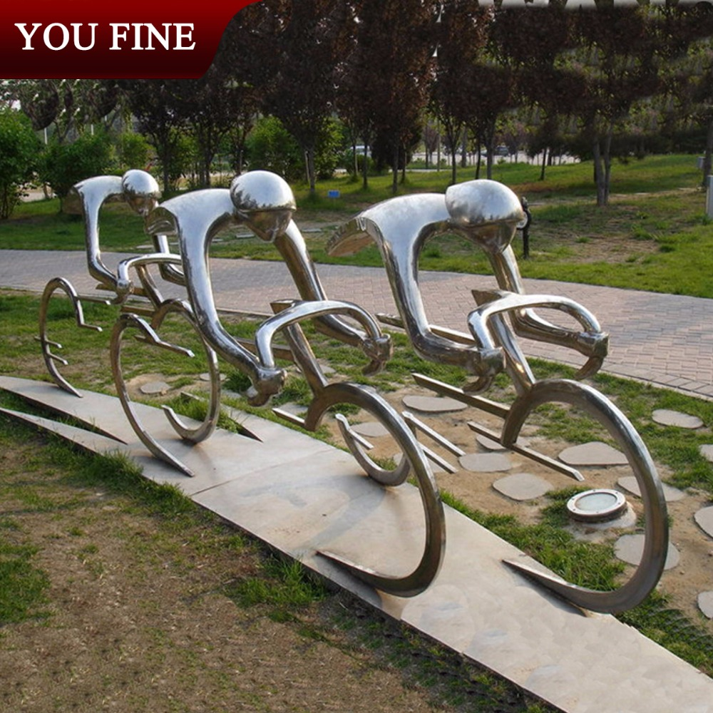 Kinetic Stainless Steel Bicycle Sculpture