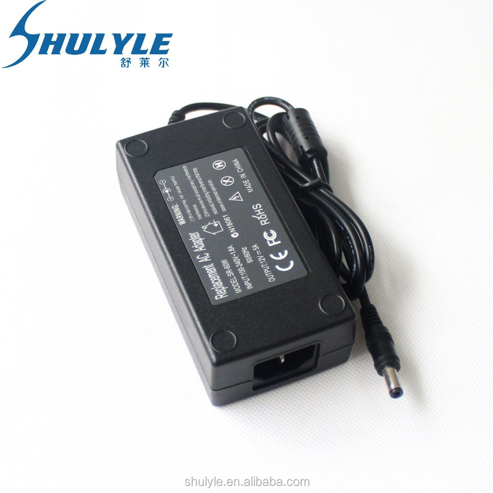 60W Top Quality 12V 5A & 5.5*2.5MM LED LCD Power Adapter In Stock