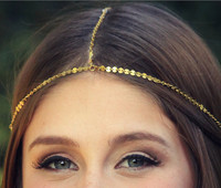 Wholesale Hair Accessories Alloy Gold Chain Headband, Small sequined Hair Jewelry X8-H05