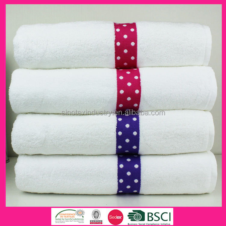 High Quality 100% cotton soft with fancy Jacquard point border bath towel