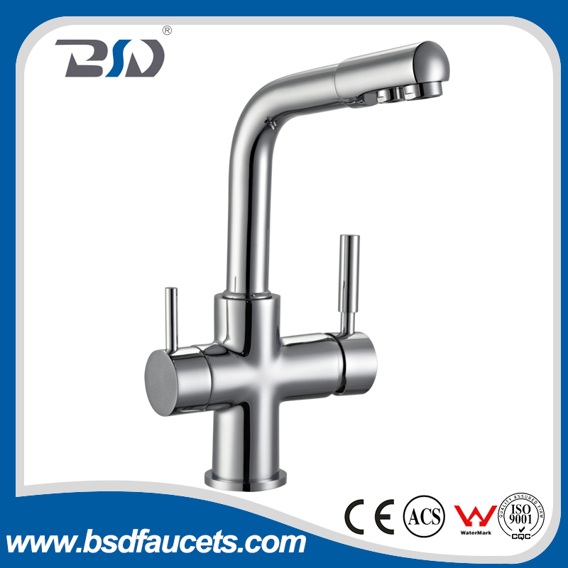 Watermark Approval Brass Two Spouts Two Handles 3 Ways Drinking Water filter water Faucets