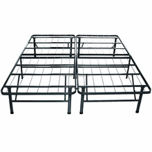 Modway Horizon Full Bed Frame In Silver - Replaces Box Spring - Folding Portable Metal Mattress Bed Frame With Storage