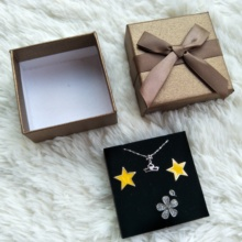 Luxury Small gift Earring bracelet ring necklace packaging jewelry box with bag