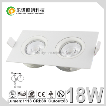 CE,Rohs,NEMKO certificate,Ra>92 cct dimming led downlight recessed square 2*9w