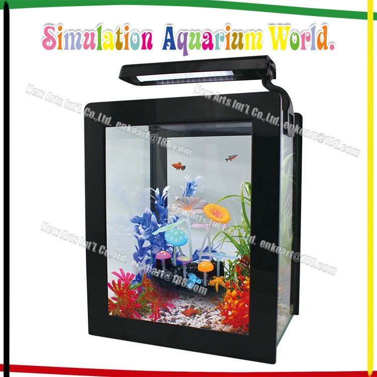new arrival fish tank aquarium decoration artificial silicone fluorescence mushroom and lotus leaf
