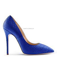 blue color snake skin wide pumps heels ladies sexy comfortable shoes wholesale brands womens stiletto high heels