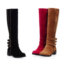 DL10169B 2017 china wholesale women suede flat knee high boots