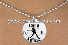 sport jewelry baseball pitcher round shape silver engarve born to be a winner letter pendant necklace(A106717)