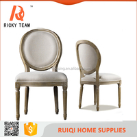 Popular wood design dining chair/stronger and durable linen fabric Modern low back hotel dining chair