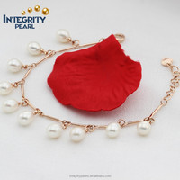 6-7mm drop AA+ grade rose gold plated natural freshwater fashion girl pearl bracelet