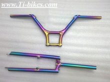 rainbow titanium BMX handle bar made in China Ti BMX handle bar wholesale titanium BMX bicycle handle bar custom