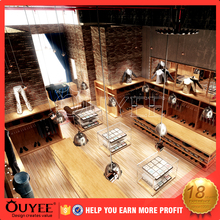 2016 latest elegant fixtures tower display wooden modern clothing kiosk clothes mens suit clothes store interior design