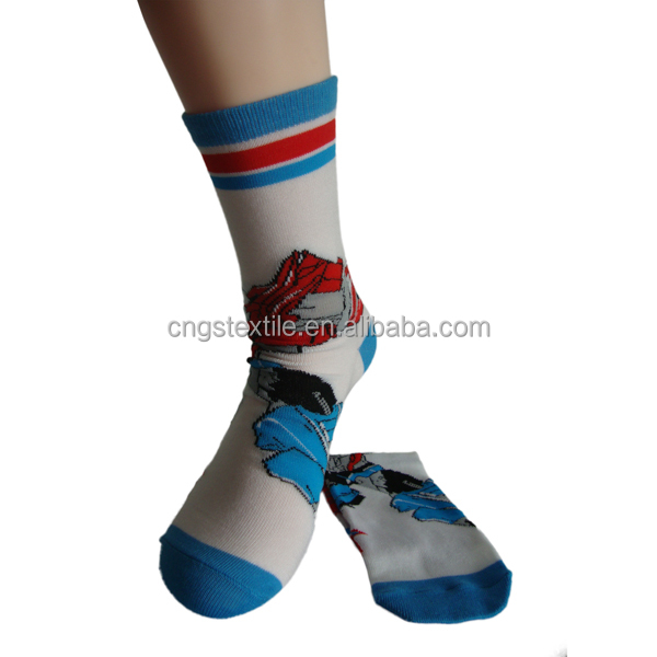 Haining GS custom cute cartoon Iron Man design white and blue young boys children kid sock