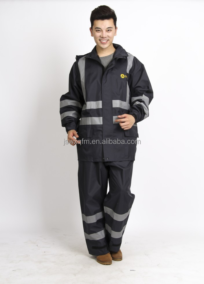 motorcycle rain coat Motorcycle Rain Gear with Zip line gear,with reflective lattice for safety at night