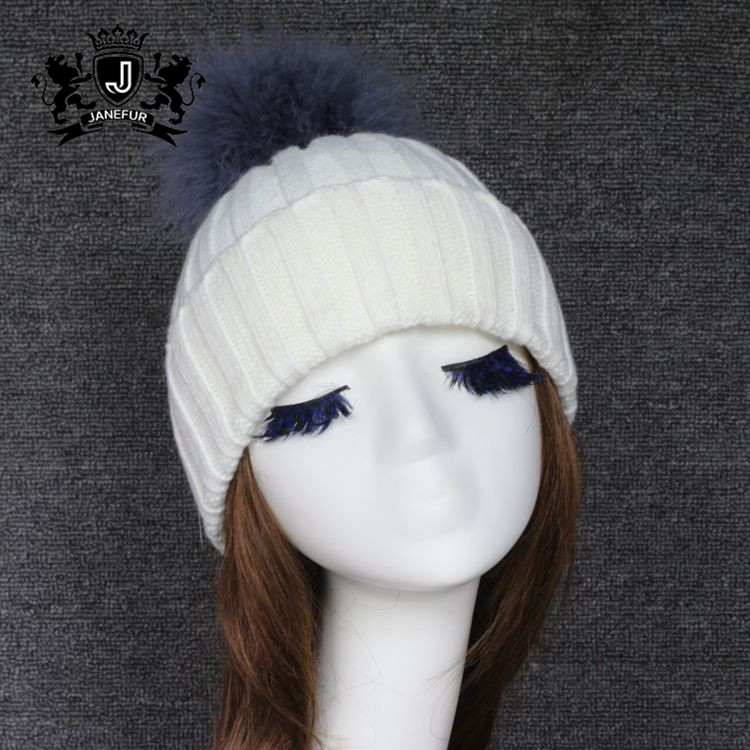 Women Winter Acrylic Knitted Beanie Hat Real Fur Pompom Hat