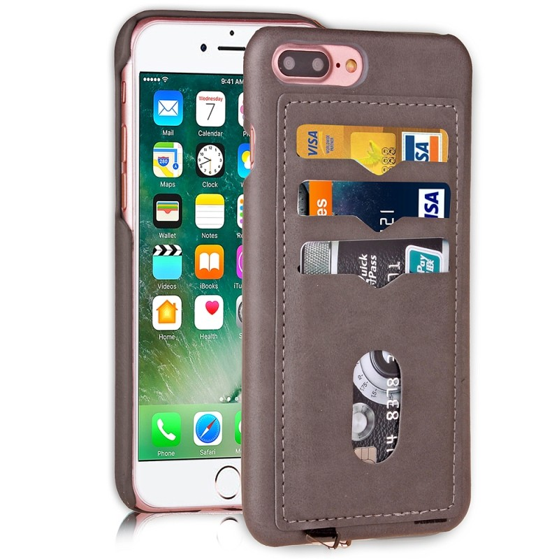 Mobile phone cover for iphone 7 plus free sample mobile phone back leather wallet case with 3 card slots case accessory