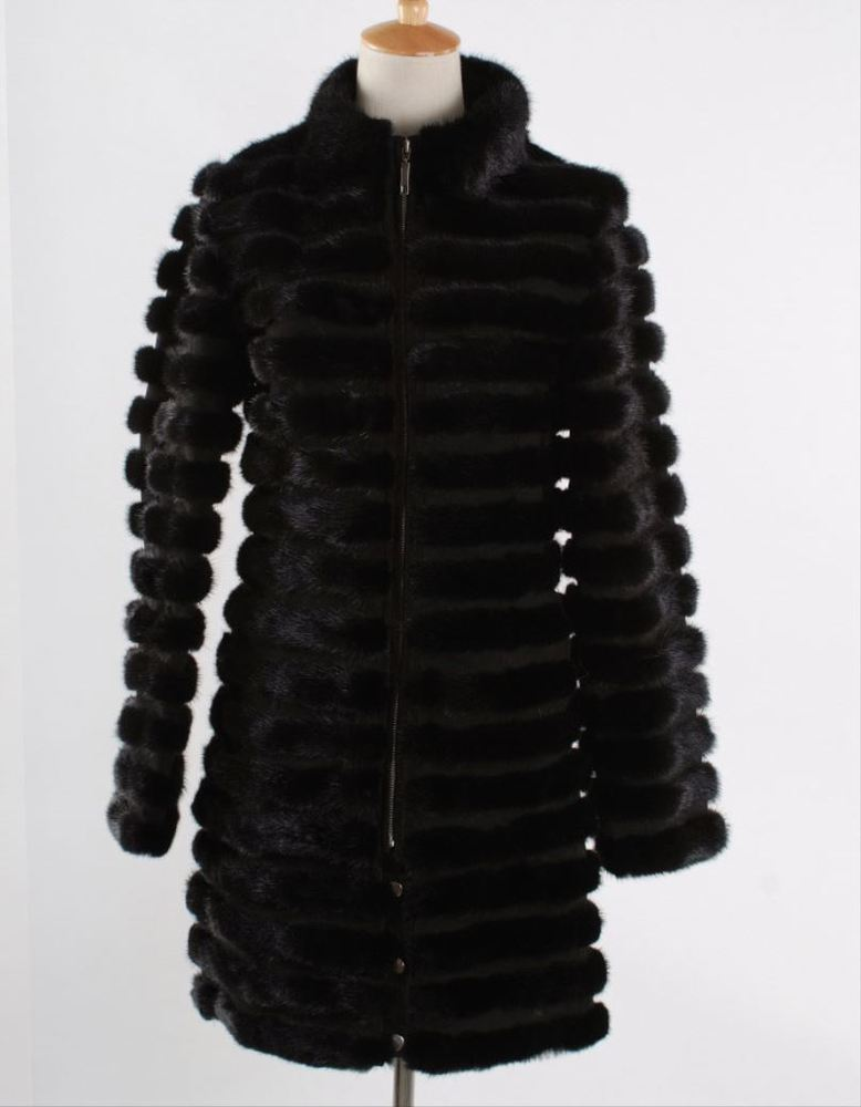 russian hot sale luxury 90cm long stand collar detachable sleeves zippered black mink fur coat for women