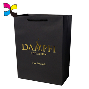 Embossing nad foil stamping black paper bag with customized logo print