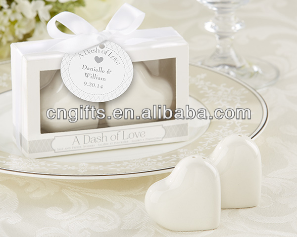 """A Dash of Love"" Ceramic Heart Salt & Pepper Shakers for Wedding favour party supplies"