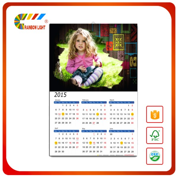 2017 wholesale various customized free design wall calendars printing