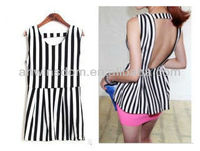 WOMEN ATMOSPHERIC BLACK AND WHITE STRIPED HALTER WAIST T-SHIRT D90784S