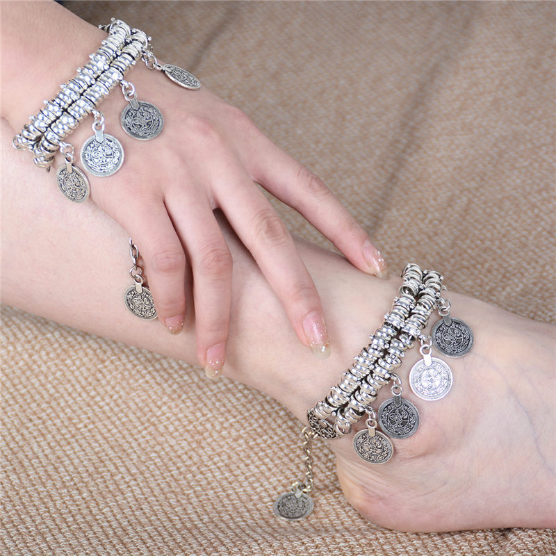 vogue delicate coin anklets silver payal locking fancy anklet