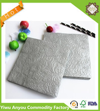 Free sample hot stamping paper napkins, 3D embossed printed gold foil napkins
