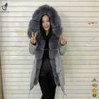 Wholesale parka jacket big fox fur trimming women hooded fur parka with cheap price