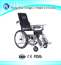 new style full reclining manual wheelchair with toilet hole foldable wheel chair for disabled person