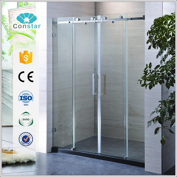 Constar frameless 8mm tempered glass sliding door shower room