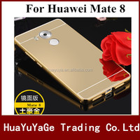 Hot selling phone case Luxury Mirror back +Bumper cover aluminum metal frame Case For Huawei Mate 8