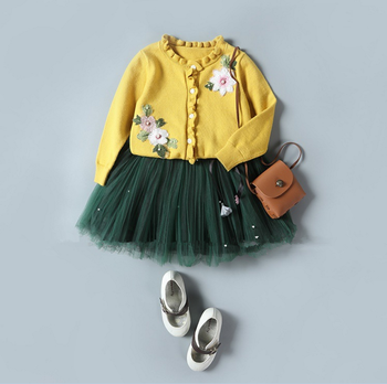 2017 autumn children new suit girls skirt twinset sweater coat embroidered flowers