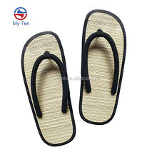 2018 Summer Promotion Design Advertising Cheap Natural Slippers Straw Mat Hotel Flip Flops