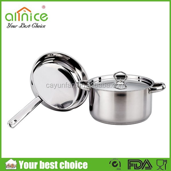 3pcs stainless steel frying pan and stockpot set / cooking pot set