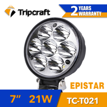 7inch round led truck light, super power 21w led truck light with 2 years warranty