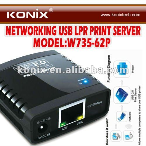 USB 2.0 Network Print Server with Ethernet Cable