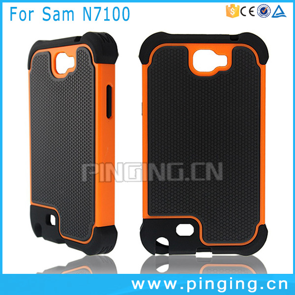 PC TPU 2 in 1 shockproof rugged football pattern case for samsung galaxy note 2 n7100