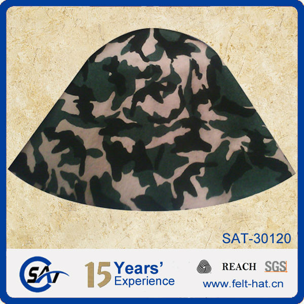 printed 100% wool felt hat bodies with camouflage pattern