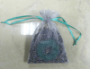 Flat bottom grey printed organza pouch bag for potpourri