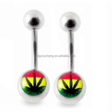 Body Piercing Rasta Marijuana Logo Belly Ring