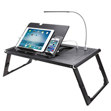 Etable plastic folding mobile laptop table with led light